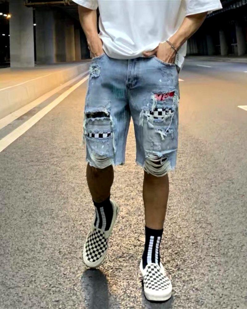 デストロイバンダナチェックデニムショートパンツ ハーフパンツ メンズの商品画像2